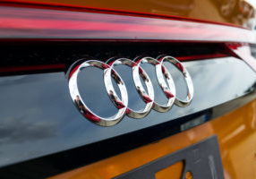Prague, Czech Republic - September 22, 2018: Audi company logo on car on September 22, 2018 in Prague, Czech Republic.