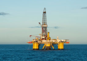 Floating Offshore drilling rig.  Campos Basin, coast of Rio de Janeiro state, Brazil, circa 2011.  Working for brazilian oil and gas company Petrobras.