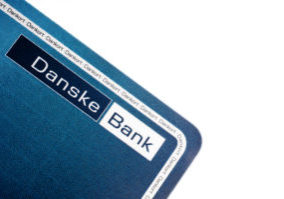 Stege, Denmark - July 11, 2011: Danske Bank Card Logo Close Up. Against a white background.