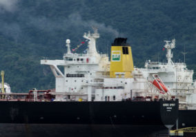 Ilha Bela, Brasil - November 15, 2016: Ship of petrobras in Ilha Bela, Brazil.