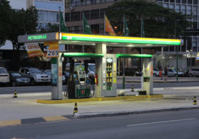 Petrobras petrol station in Rio de Janeiro. Petrobras is one of largest energy and oil companies in the world with 130 billion USD revenue in 2013.