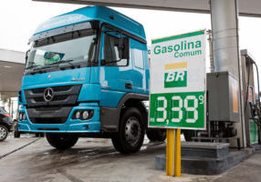 Truck fueling at Petrobras Gas Station demonstrating the price of fuel at Sao Paulo